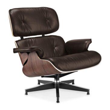 Fotelja ili Lounge chair, tamno smeđe boja kože, drvo oraha, Inside Studio, slika 02