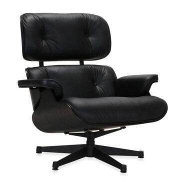 Lounge Chair crna koža jasen