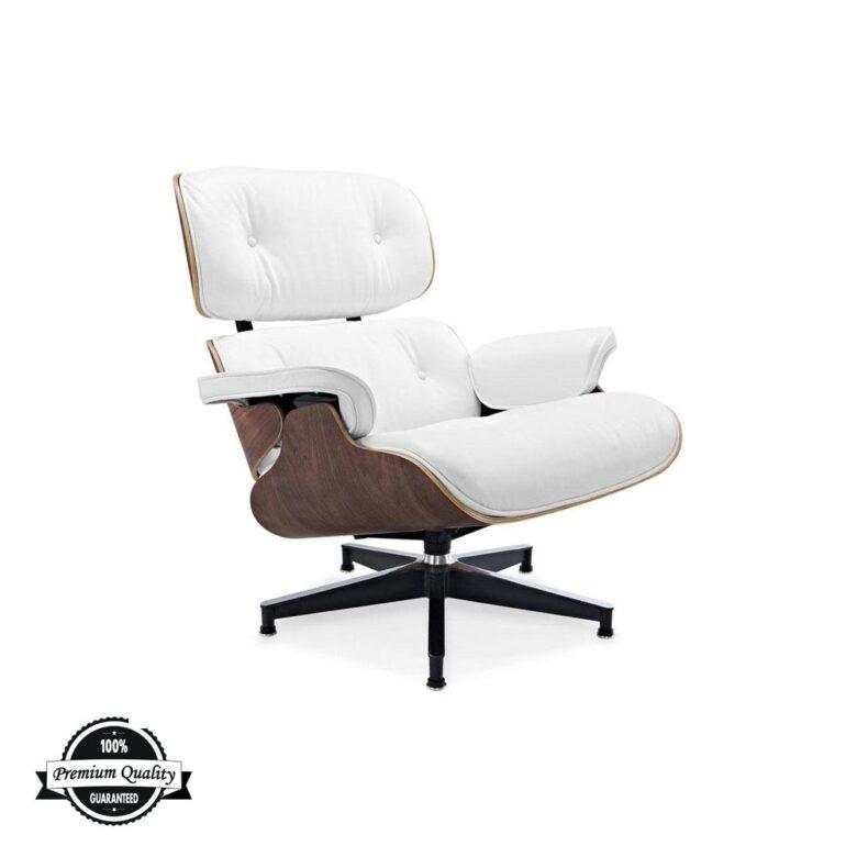 Lounge Chair bijela koža orah