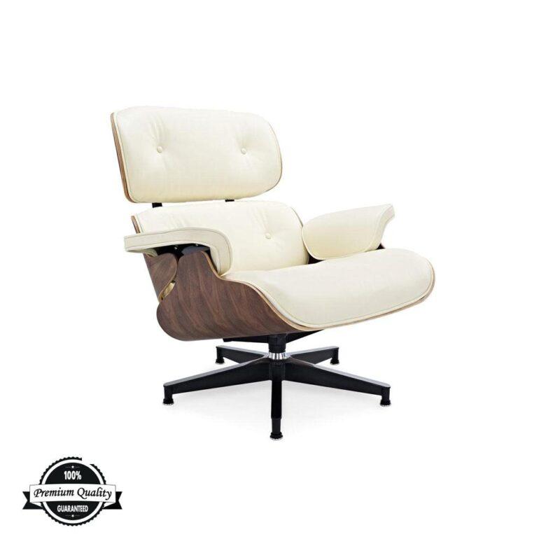 Lounge Chair krem koža orah