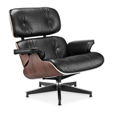 Fotelja ili Lounge chair, crna boja kože, drvo oraha, Inside Studio, slika 02