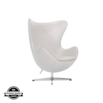 BULB kožna fotelja bijele boje