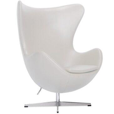 FBULB kožna fotelja bijele boje
